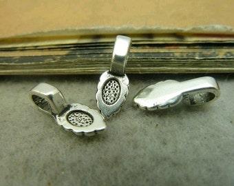 50pcs 6x16mm Silver Color Smaller Alloy Jewelry Bails- Great For Scrabble Tile Pendants And Glass Pendants C4651