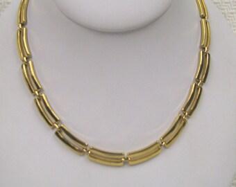 Vintage Monet Gold tone Minimalist Modernist Choker Necklace