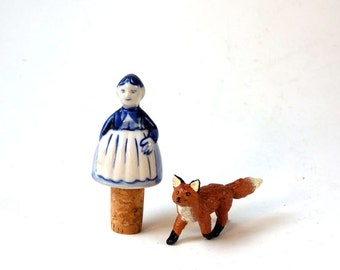 Wine bottle stopper, Delft Lady blue and white china bottle topper