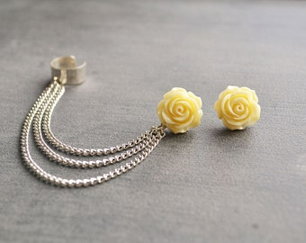 Ivory Rose Silver Chain Ear Cuff (Pair)