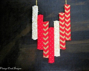 Red & Gold Chevron Statment Necklace,Red Statement Necklace, Chevron Necklace, Chevron Jewelry,Fabric Necklace, Fabric Jewelry, Wearable Art
