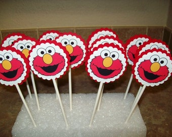 12 Elmo Cupcake Toppers/ Cake Toppers/ Birthday Party/ Decorating