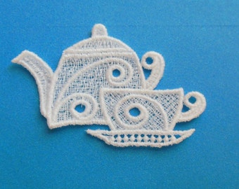 Lace Applique for Crafts or Crazy Quilt - Teapot and teacup
