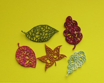 Lace Applique for Crafts or Crazy Quilt - A Scatter of Leaves