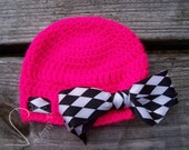 Neon Pink Racing White Black Checkered Ribbon Hat - Crochet Warm Soft Beanie Photo Prop - READY TO SHIP