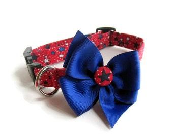 Patriotic Stars dog collar size Medium