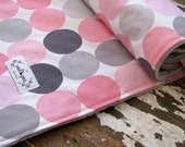 Minky Baby Blanket - Disco Dot in Pink and Grey - Baby Girl Blanket