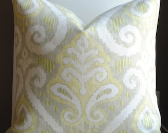 SALE-Beautiful Decorative Pillow Cover-20x20 Zanzibar- Designer Fabric- Lemongrass