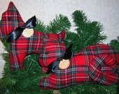 CIJ Preview! Primitive RED Wool Plaid Scotty Dog & Cat Pillow Tucks Basket Fillers
