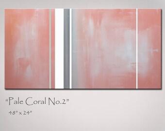 Coral Abstract Art, Painting, Large 48x24, Original Modern Art, Minimalist, Coral Gray Grey