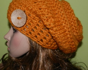Sale ! Chunky Slouchy Beanie, Knitted Bulky Boho Hat, Teen/Women Hipster Hat, Trendy Slouchy Cap in Honey with   Eco Button on the side.