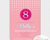 American Girl Party Invitation, American Girl Inspired Birthday Party Invitation - 5x7 PRINTABLE
