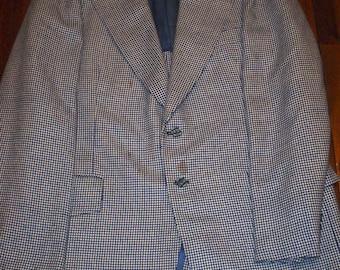 Blue and White Check Men's Blazer Size 42 Long