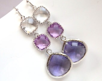 Purple Earrings, Lavender, Drop, Dangle, Lilac, Glass Clear Silver, Bridesmaid Jewelry, Bridesmaid Earrings, Bridal Jewelry, Bridesmaid Gift