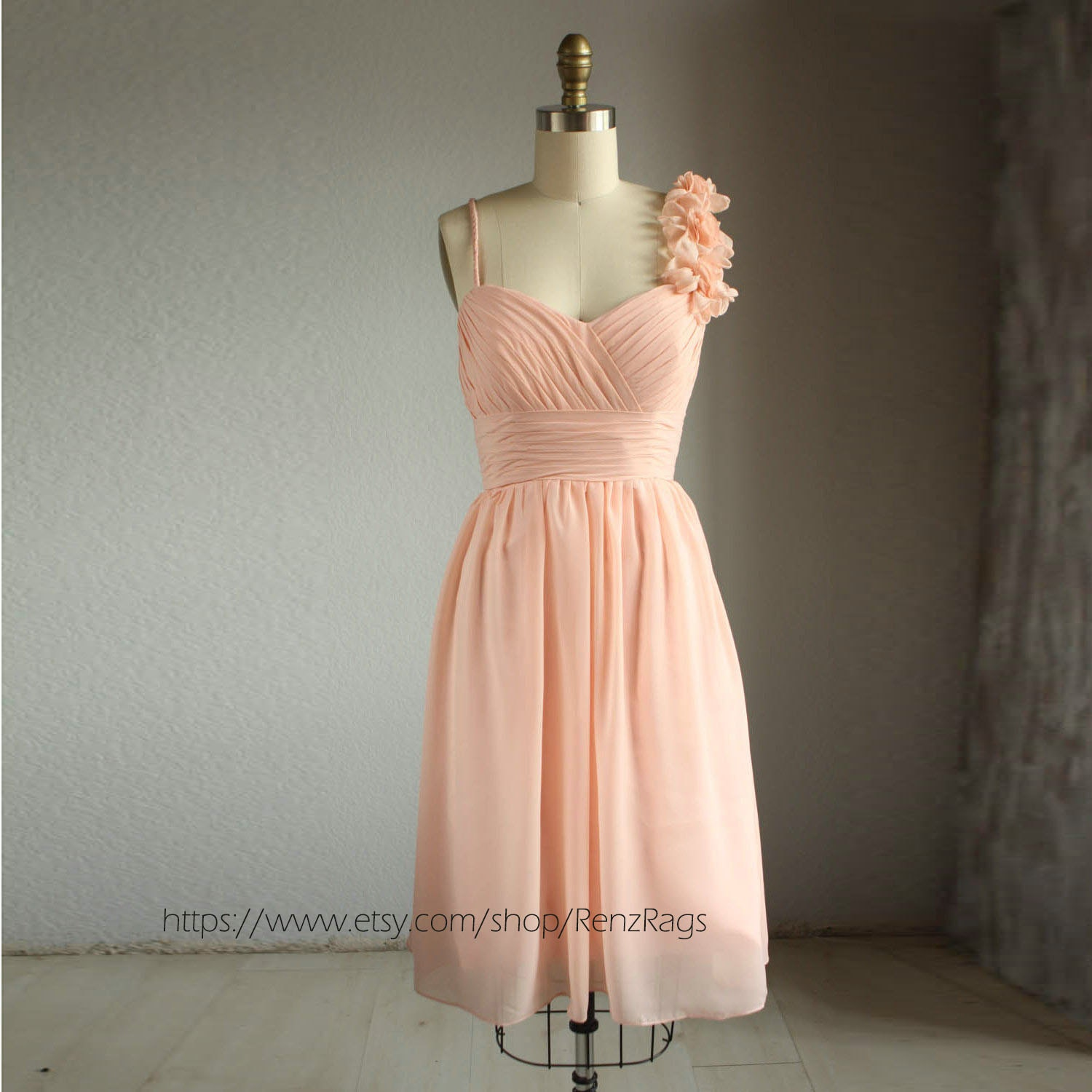 Peach bridesmaid dress wedding dress handmade prom dress for Peach dresses for wedding
