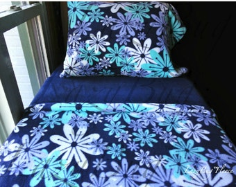 Crib Bedding Girls Toddler Fleece Bedding Set 'Blue Flowers' Handmade Fits Crib and Toddler Beds