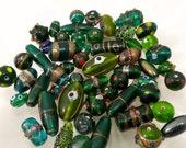 Vintage Green Hand Made Lampwork Lamp Work Beads Mix Wedding Cake etc.