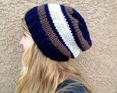 CLEARANCE Navy Blue Taupe and Off White Slouch Beanie for Men or Women Knit Striped Hat