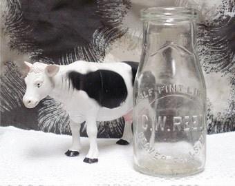 Half Pint Milk Bottle CW Reed Dairy Beaver Falls PA