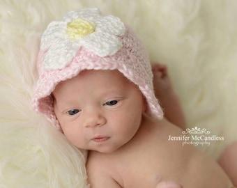 Crochet Baby Girl Daisy Flower Flapper Beanie - flapper, newborn, pink, daisy. photo prop