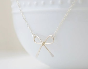 Sterling Silver Bow Necklace - Silver, Gold or, Rose Gold - 1140