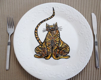 Plate -hand painted-size 11 inches- Cats- dinner plate -Ceramic hand painted plate.