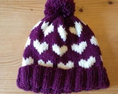 Heart Print Chunky Knitted Hat // Cranberry and Cream // Valentines