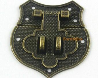 2Pcs Antique Brass Jewelry Box Hasp Latch Lock 43*40mm with Screws (HASP014)