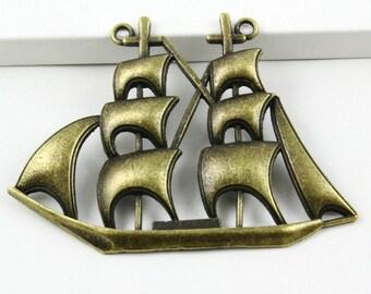 6Pcs Antique Brass Sailing Ship Charm Sailing Pendant Sailing Connector 63x47mm (PND409)