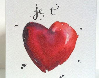 Valentine Card - Red Heart - Je t'aime - Love - Illustration - Art - Card from Original Illustration