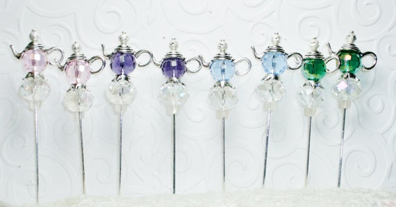 Reserved for Sandy    16 Lovely Crystal Teapot Stick Pins