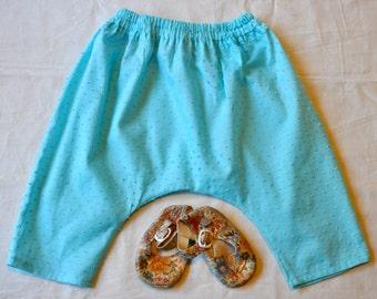 6 month size Aqua Dotted Swiss pants