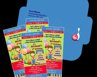 Printable - Bowling - Ticket Invitations &  Envelope - Custom Personalized Birthday