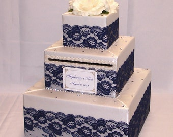 Elegant Custom Made Wedding Card Box-Lace design