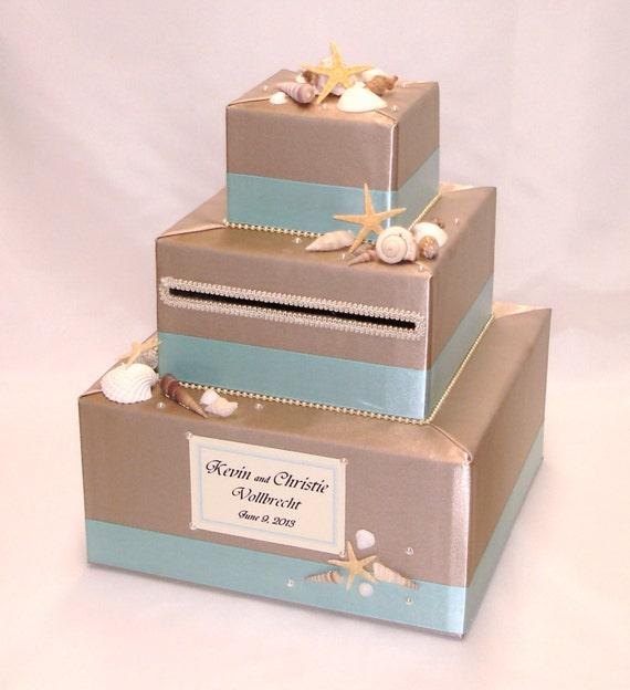 Beach Theme Home Decor Shadow Box Beach Gift: Elegant Custom Made Wedding Card Box Beach By