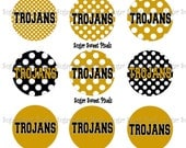 INSTANT DOWNLOAD Black vegas  Gold Trojan Dot  1 inch Circle Bottlecap Images 4x6 sheet