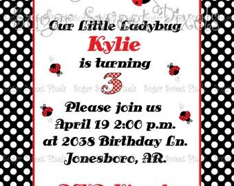 Personalized Digital Fancy Ladybug Birthday Invitation
