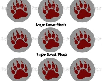 INSTANT DOWNLOAD Silver maroon  Bear Claw two color  Paw Print School Mascot 1 inch Circle Bottlecap Images 4x6 sheet