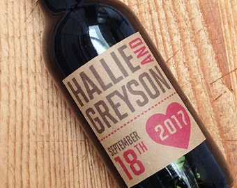 Mini Wedding wine labels with heart on Brown Kraft, Set of 20