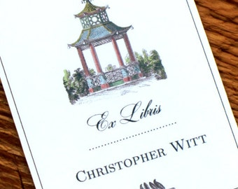 Chinoiserie Pagoda Antique Print Bookplate Personalized - Set of 24