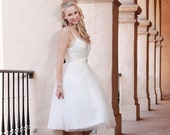 Ready to Ship SALE -Emelie- Tulle Wedding Dress, Short Wedding Dress, Reception Dress, Garden Wedding, Vintage Inspired