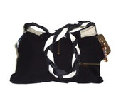 Black Fabric upcycled Bag.The Big Black Bag with braid  long strap.