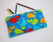 Whale print Pencil Case/ Crayon Case/Makeup Bag/ Cosmetic Case/ Ready to Ship
