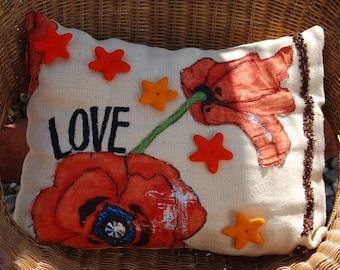 I Love Autumn Hand Painted Felt Appliqued Throw Pillow