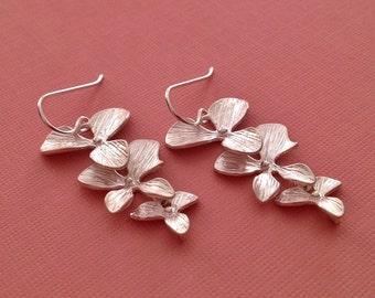 Silver Orchid Earrings -Orchid Earrings in Silver -Orchid Jewelry