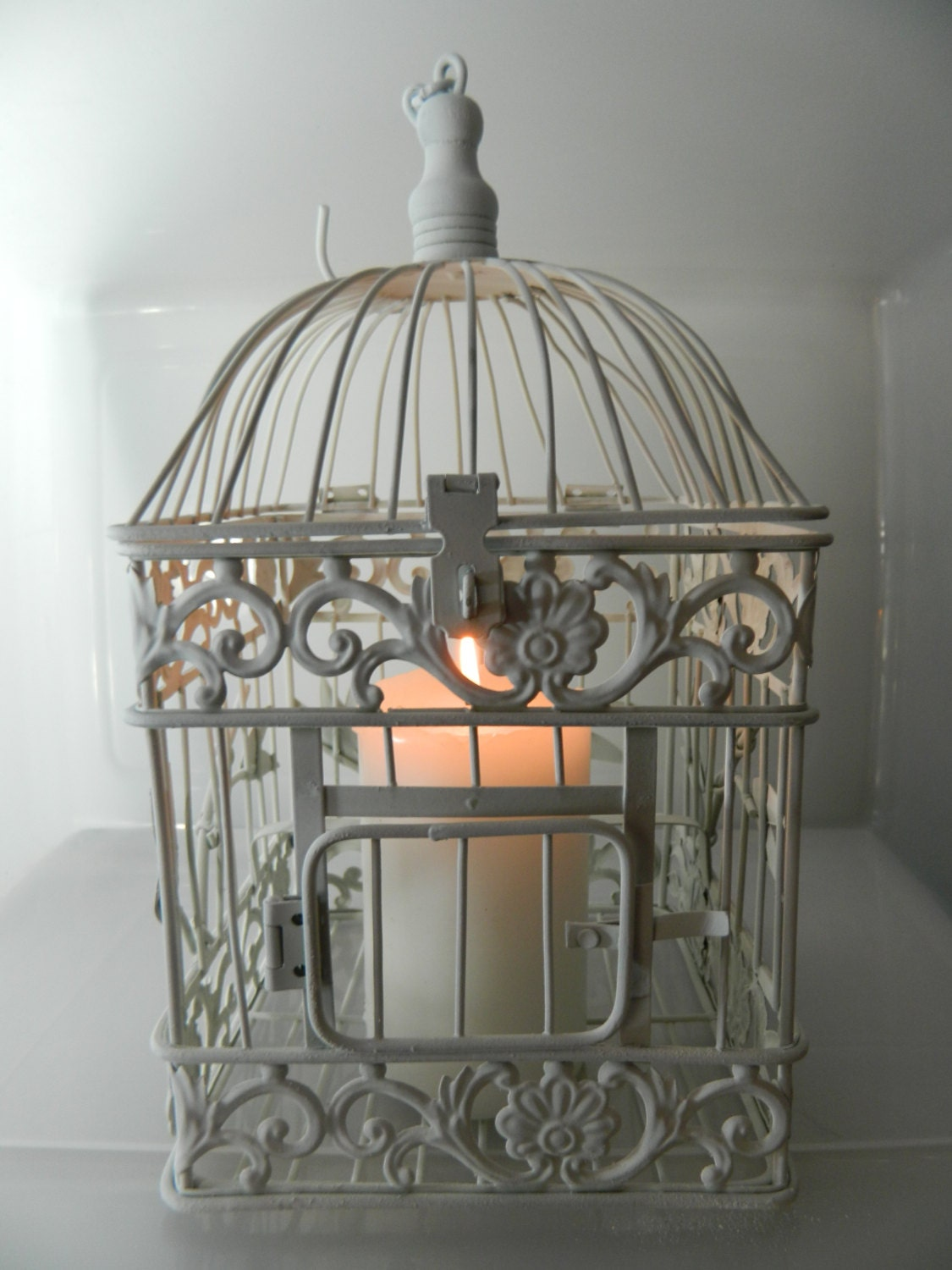 vintage metal bird cage decorative white distressed paris. Black Bedroom Furniture Sets. Home Design Ideas