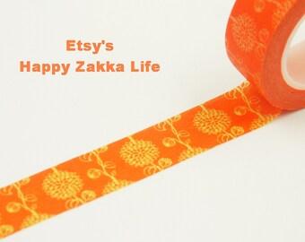 Japanese Washi Masking Tape - Yellow Flower with Orange - 11 Yards