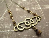 Clearance/Tigerseye Bohemian Brass Necklace