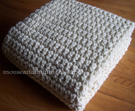"Extra Large Chunky Afghan Blanket Easy Crochet PATTERN (50"" x 72"") - PDF 5072"