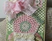 Shabby Chic Card Crocheted Birdhouse Birthday Bird Pink Green Handmade